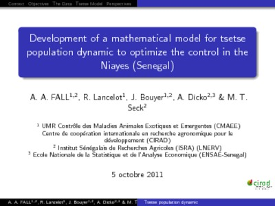 Development of a mathematical model for tsetse population